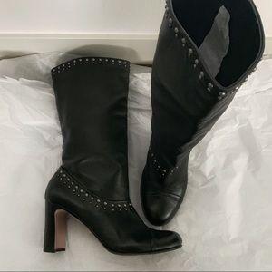 Prada Black Studded Leather Mid Calf Boots